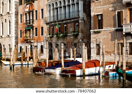 Boats parking in Venice city in Italy - stock photo