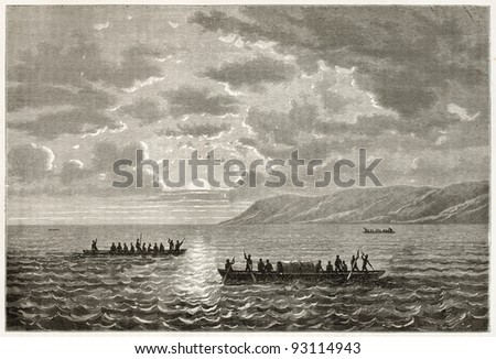 Boats sailing Alberta lake. Created by Grandsire after Baker, published on Le Tour du Monde, Paris, 1867 - stock photo