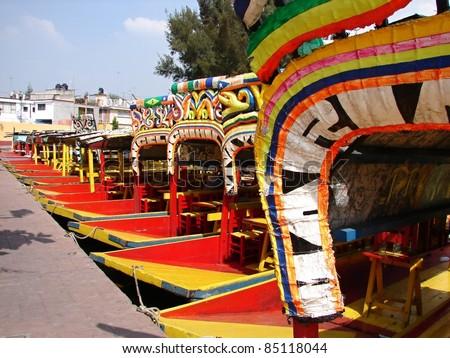 Boats (trajineras) in Xochimilco., Mexico - stock photo