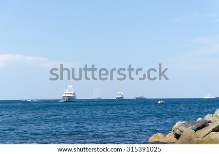 Boats with a blue sky background at Saint Tropez