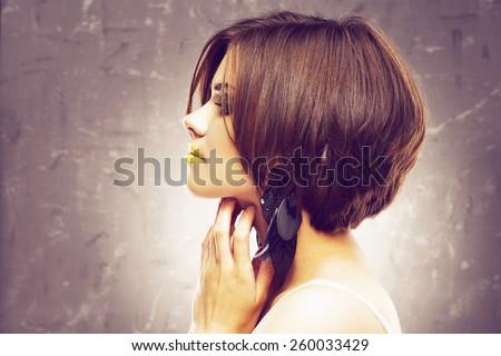 bob haircut. profile view. beauty face . short hair dress. - stock photo