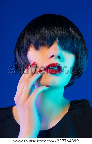 bob Haircut. Red Lips. Beauty Woman - stock photo