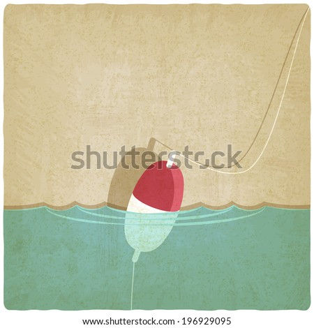 bobber fishing old background - stock photo