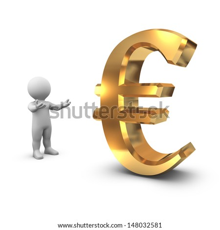 Bobby proudly presents a golden Euro symbol on white background.