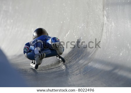 Boblseigh in Sigulda, Latvia, Europe - very popular winter sport - stock photo
