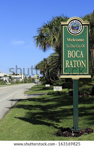 BOCA RATON, FLORIDA - FEBRUARY 1: There are 756 acres of parks, beach frontage measures 5 miles and the average temperature annually is 74.7 degrees on February 1, 2013 in Boca Raton, Florida. - stock photo