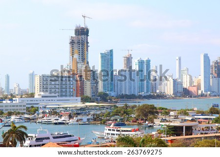 Bocagrande and cartagena port view from city center. cartagena colombia - stock photo