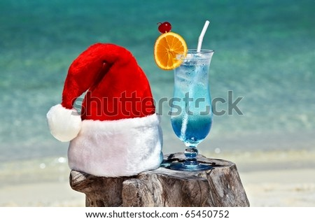 Bocal of tonic water is on original  beach table is made from trunk of tree with Santa hat