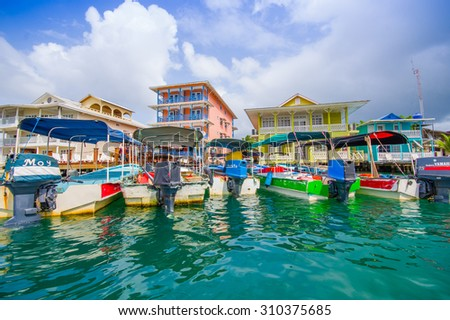 BOCAS, PANAMA - APRIL 15, 2015: Houses on the shore of the island of Colon in Bocas del Toro which is the capital of the province of the same name in the Caribbean West of Panama.  - stock photo