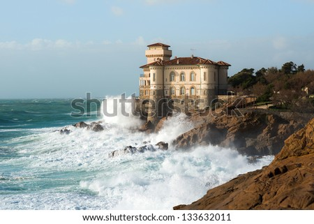 Boccale castle in tuscany coast - stock photo