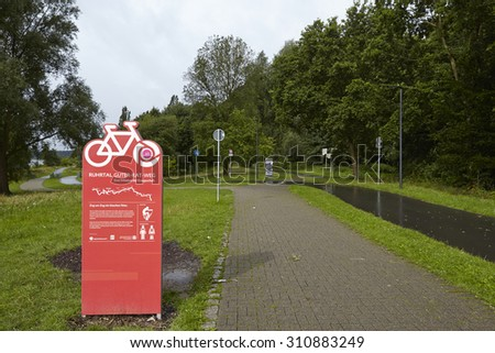 BOCHUM, GERMANY - JULY, 25. The Ruhr Valley Bicycle Trail at the Reservoir Kemnade in Bochum (Germany, Northrhine Westphalia) taken on July 25, 2015.