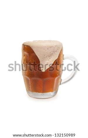 Bock Beer With Overflowing Foam Top.