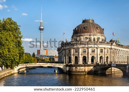 Bode museum on Museum Island and TV tower on Alexanderplatz, Berlin, Germany - stock photo
