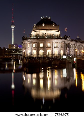 Bode Museum on Museum Island with TV Tower in background, night shot, Berlin, Germany - stock photo