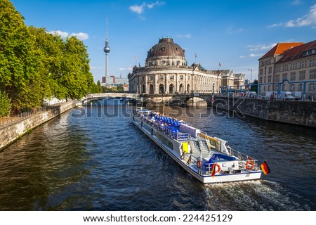 Bode museum on Museumsinsel and TV tower on Alexanderplatz, Berlin, Germay - stock photo