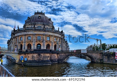Bodemuseum and the Fernsehturm in the center of Berlin - stock photo