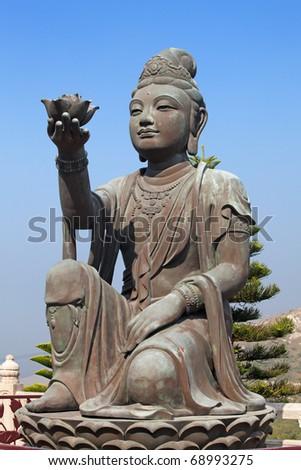 "Bodhisattva sculpture near ""Big Buddha"" in Hong Kong - stock photo"