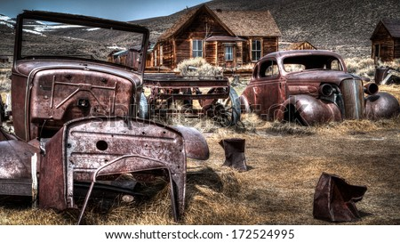 """Bodie, an original mining town from the late 1800's stands today in a state of """"arrested decay"""" maintained by the California State Parks Systen. - stock photo"""