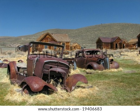 Bodie Ghost Town Cars - stock photo