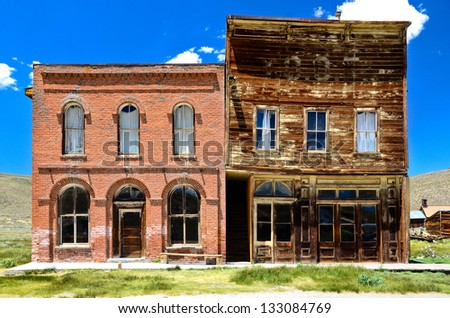 Bodie Ghost Town, town hall abandoned gold mining town, California - stock photo