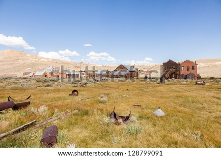 Bodie is a ghost town in the Bodie Hills east of the Sierra Nevada mountain range in Mono County, California, United States - stock photo