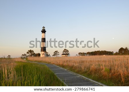 Bodie Lighthouse at Sunrise with Moon - stock photo