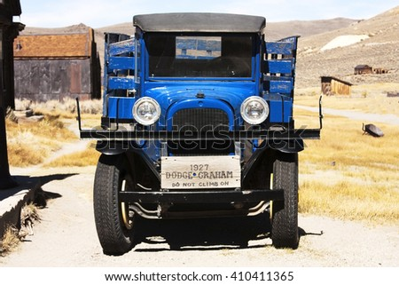 Bodie Town; United States of America, 7 October 2014: Old car in ghost town Bodie