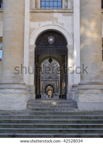 Bodleian Library in Oxford (Oxford University) - perspective of arches - stock photo