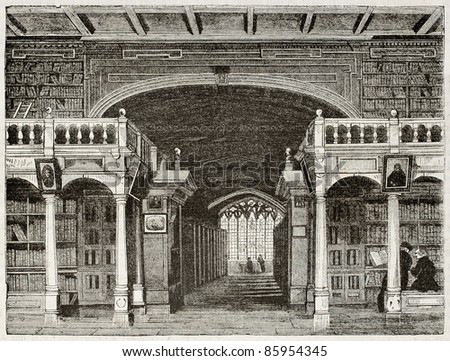 Bodleian library interior old illustration, University of Oxford. By unidentified author, published on Magasin Pittoresque, Paris, 1842 - stock photo
