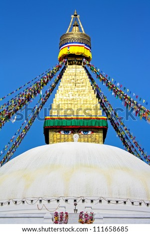 Bodnath Stupa is one of the most remarcable symbols of Buddism in Nepal - stock photo