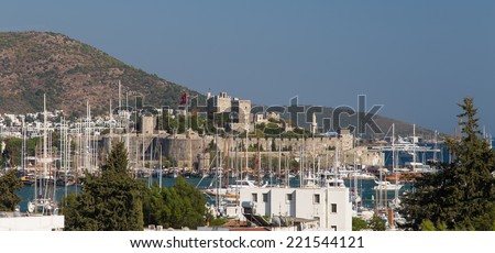 Bodrum Castle and Marina in Aegean Turkey - stock photo
