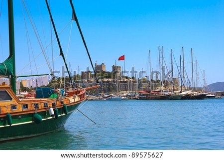 Bodrum castle and sailing boats, Turkey - stock photo