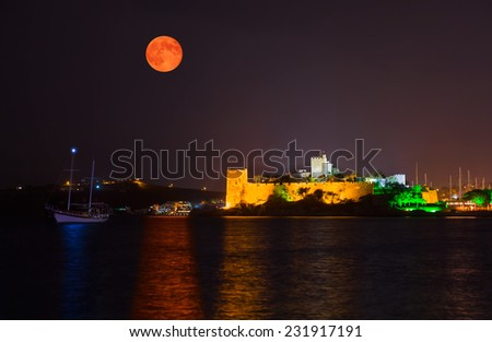 Bodrum Castle at night - stock photo