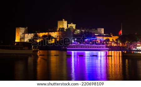 Bodrum Castle at Night in Aegean Coast of Turkey - stock photo