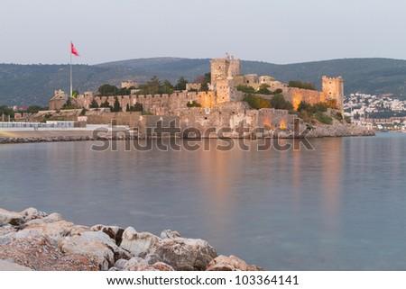 Bodrum Castle from Mugla, Turkey - stock photo