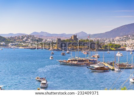 Bodrum Castle or the Castle of St Peter in Bodrum, Aegean coast of Turkey - stock photo