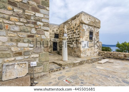 Bodrum, Turkey - June 02, 2016 : The Bodrum Museum of Underwater Archaeology view in Bodrum Castle. This Museum is only museum about underwater in Turkey