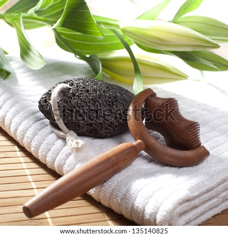 body and foot care still life - stock photo