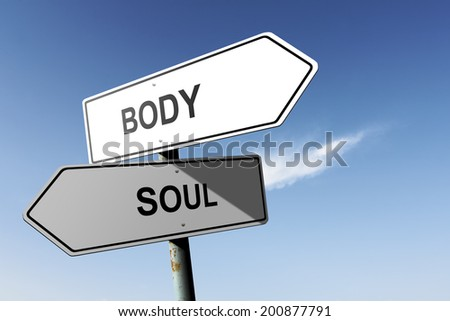 Body and Soul directions. Opposite traffic sign. - stock photo