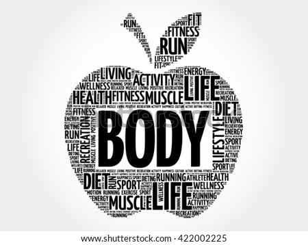 BODY apple word cloud, health concept - stock photo