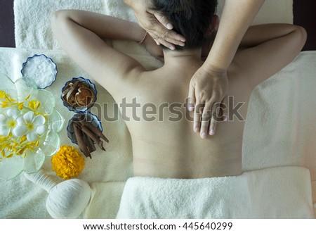 Body back massage and spa - stock photo