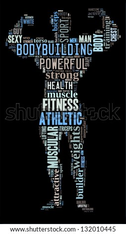 Body builder info-colorful text graphic and arrangement concept on black background (word cloud) - stock photo