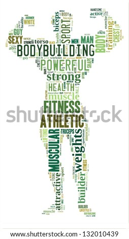 Body builder info-colorful text graphic and arrangement concept on white background (word cloud) - stock photo