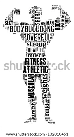 Body builder info-text graphic and arrangement concept on white background (word cloud)