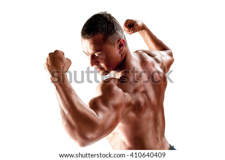 Body builder, muscular man with a power - stock photo