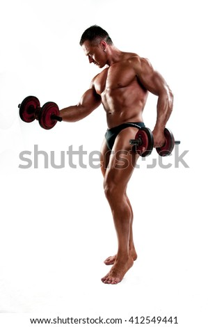 Body builder, muscular man with a power on a training - stock photo