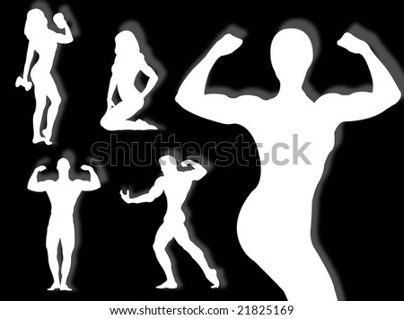 Body builder silhouette in different poses and attitudes