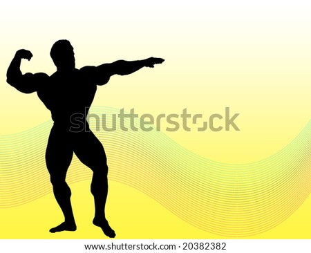 Body builder silhouette over yellow background with colored lines - stock photo