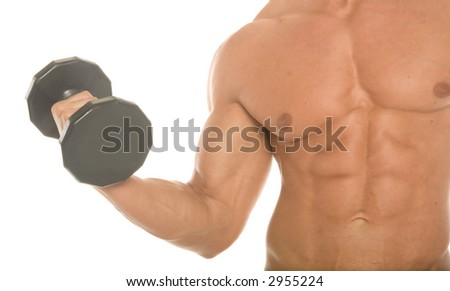 Body builder working out - stock photo
