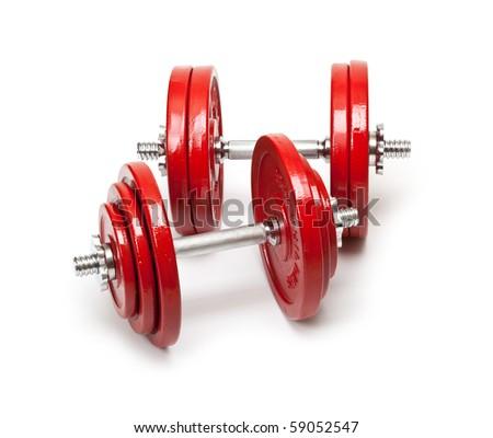 Body building - dumbbells - stock photo